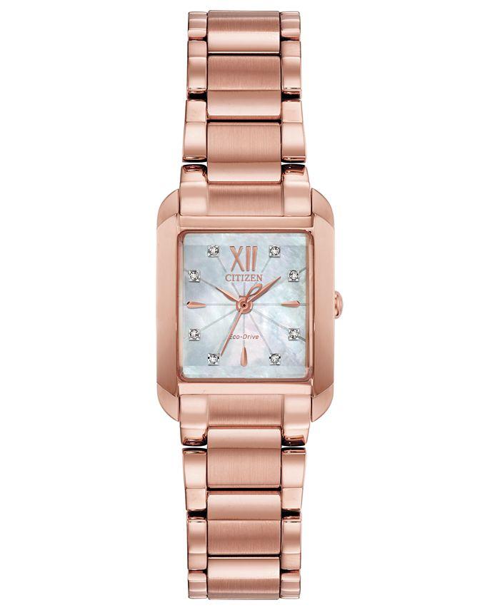 Citizen - Women's Bianca Diamond-Accent Rose Gold-Tone Stainless Steel Bracelet Watch 22mm