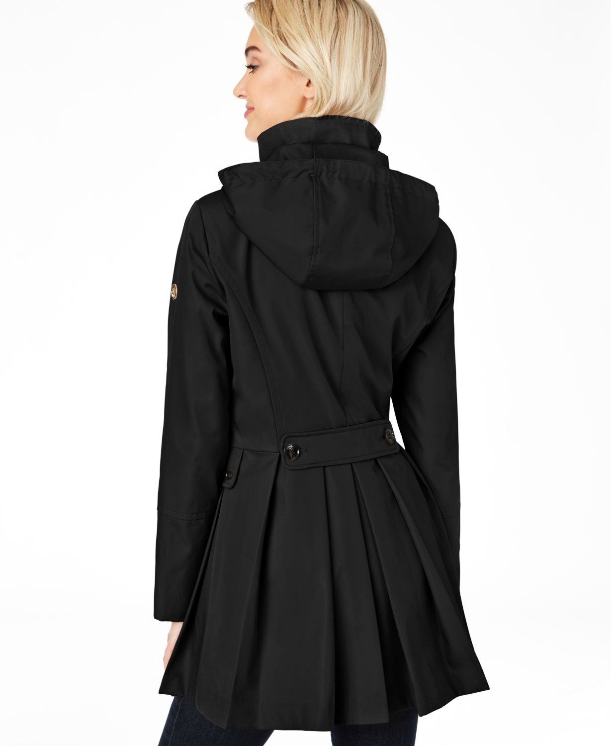 Calvin Klein Water Resistant Hooded Double-Breasted Skirted Raincoat & Reviews - Coats - Women - Macy's