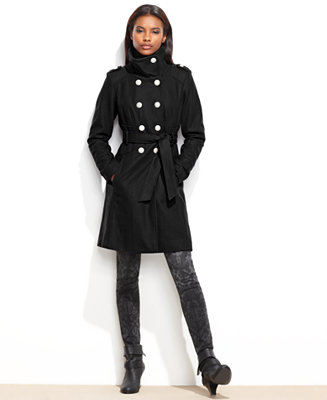 Guess Funnel Collar Belted Military Coat Coats Women