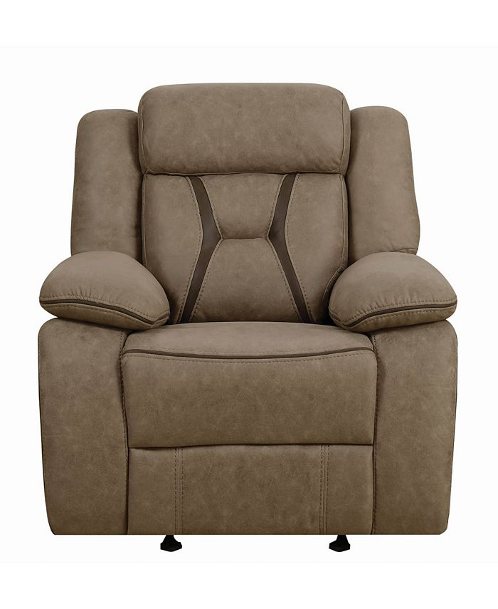 Macy's - Houston Pillow-Padded Glider Recliner with Contrast Stitching Tan