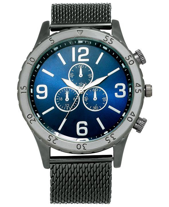 INC International Concepts INC Men's Gunmetal Gray Mesh Bracelet Watch 47mm, Created for Macy's