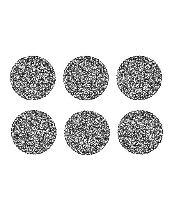 Design Imports Woven Paper Round Placemat, Set of 6