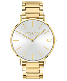 COACH Men's Charles Gold-Tone Stainless Steel Bracelet Watch 41mm
