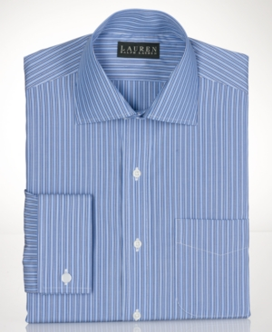 Lauren by Ralph Lauren Mens Dress Shirt, Blue Stripe French Cuff Shirt