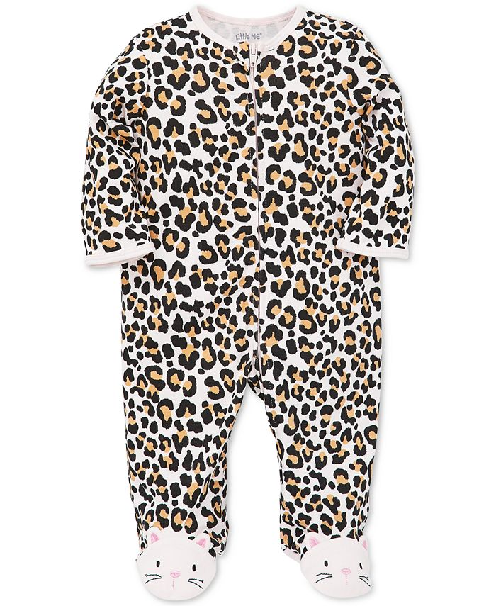 Little Me - Baby Girls Animal-Print Cotton Footed Coverall