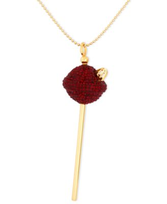 SIS by Simone I Smith 18k Gold over Sterling Silver Necklace Medium Deep Red Crystal Lollipop Pendant