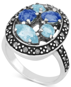 Genevieve & Grace Sterling Silver Ring, Marcasite and Light and Dark Blue Glass Oval Ring