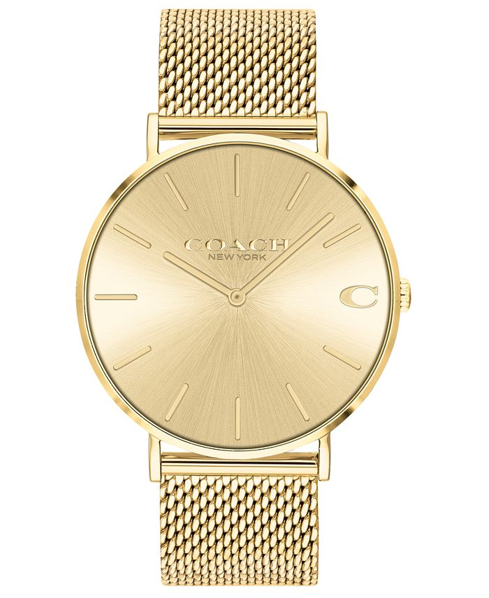COACH - Men's Charles Gold-Tone Stainless Steel Mesh Bracelet Watch 41mm