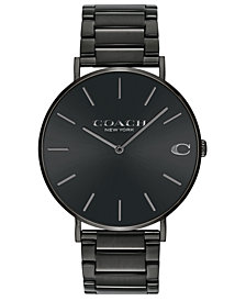 COACH Men's Charles Black Stainless Steel Bracelet Watch 41mm