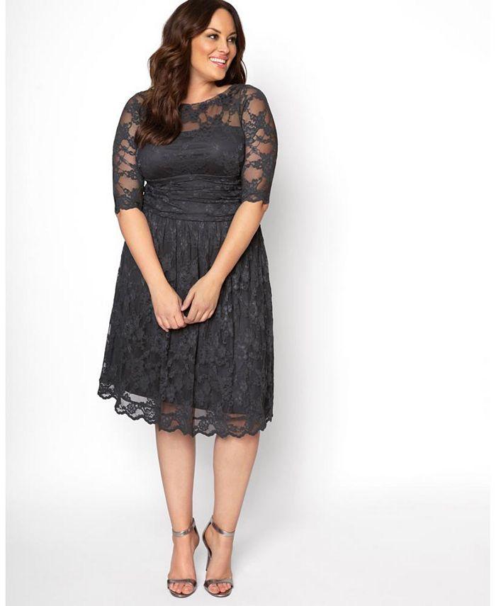 Kiyonna - Womens Plus Size Luna Lace Dress