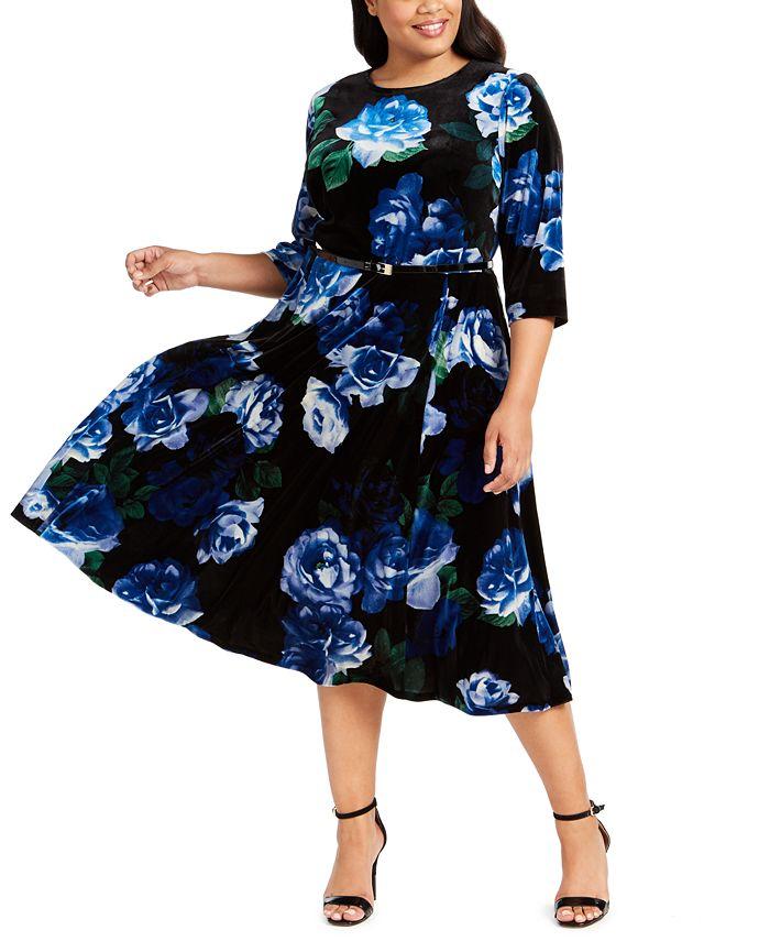 Calvin Klein - Plus Size Floral-Print Velvet Dress