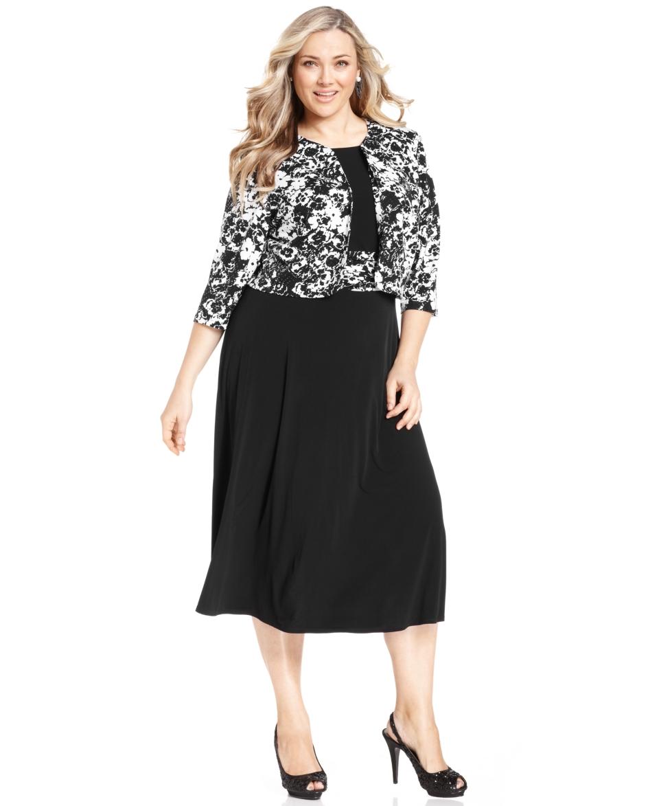 Jessica Howard Plus Size Dress and Jacket, Sleeveless Floral Print