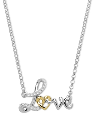 Macy's - 14k Gold and Sterling Silver Necklace, Diamond Accent Love Pendant