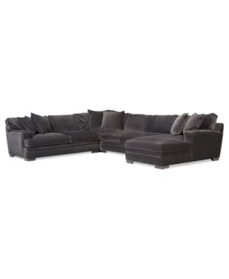 "Teddy Fabric Sectional Sofa, 2 Piece Chaise 112""W x 66""D x 30""H"
