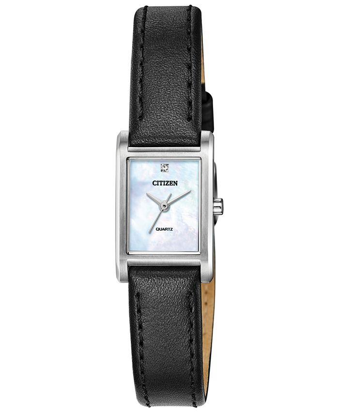 Citizen - Women's Quartz Black Leather Strap Watch 18x22mm