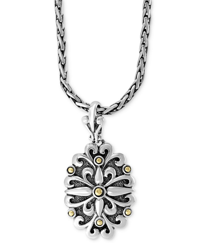 "EFFY Collection - Floral 18"" Pendant Necklace in Sterling Silver & 18k Gold"
