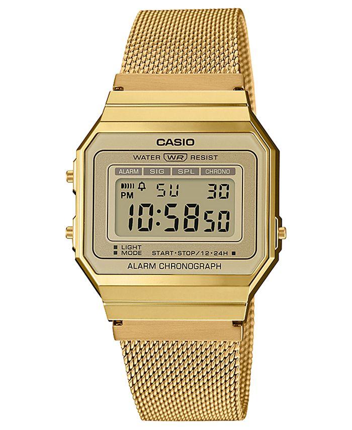 Casio - Unisex Gold-Tone Stainless Steel Mesh Bracelet Watch 35.5mm