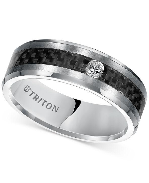 Triton Men's Diamond Band (1/20 ct. t.w.) in Gray Tungsten Carbide & Black Carbon Fiber Inlay