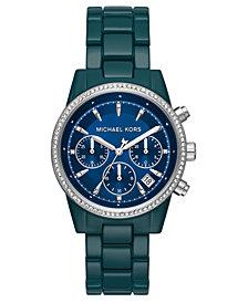Michael Kors Women's Chronograph Ritz Teal Stainless Steel Bracelet Watch 37mm