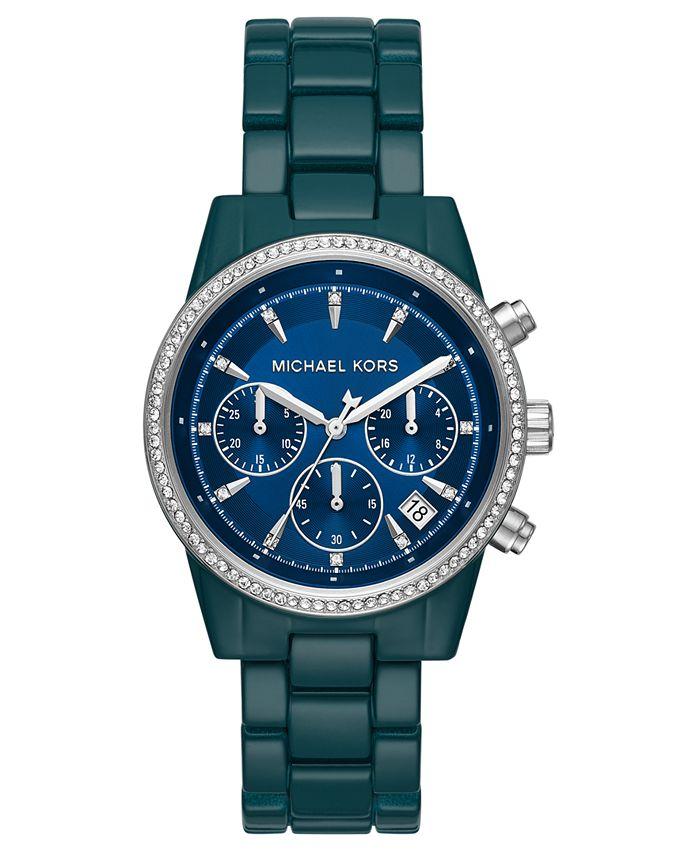 Michael Kors - Women's Chronograph Ritz Teal Stainless Steel Bracelet Watch 37mm