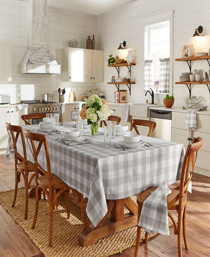 "Elrene - Farmhouse Living Buffalo Check Tan/White 52""x52"" Tablecloth"
