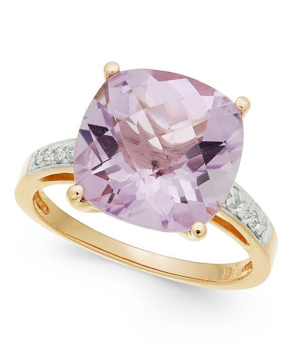 Macy's Pink Amethyst (6-1/10 ct. t.w.) & Diamond (1/10 ct. t.w.) Ring in 14k Rose Gold