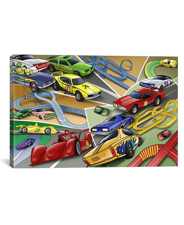 iCanvas  Cartoon Racing Cars Children Art by Unknown Artist Wrapped Canvas Print Collection
