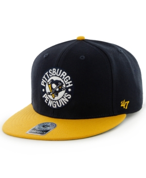 47 Brand NHL Hockey Hat, Pittsburgh Penguins Big Shot Basic Snapback Hat