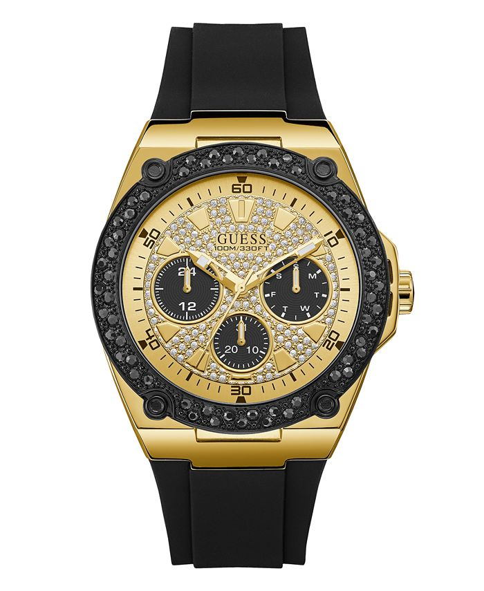 GUESS - Men's Black and Gold-Tone with Crystal Accents and Silicone Strap Watch 45mm