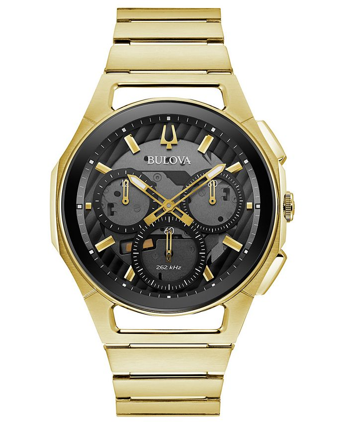 Bulova - Men's Chronograph Curv Progressive Sport Gold-Tone Stainless Steel Bracelet Watch 44mm