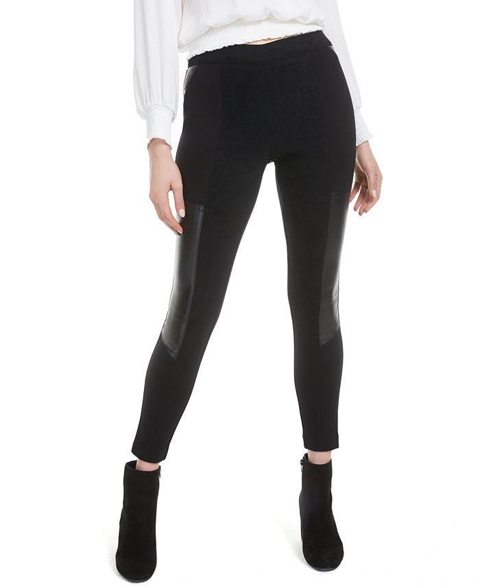 Bar III - Faux-Leather-Patch Leggings