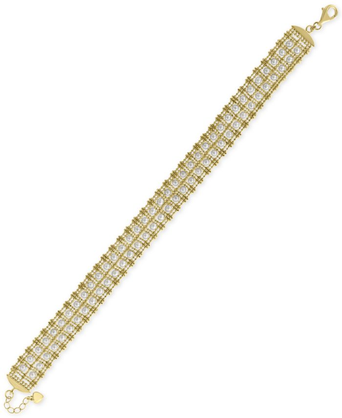 EFFY Collection EFFY® Cultured Freshwater Pearl (3-1/2mm) Link Bracelet in 18k Gold-Plated Sterling Silver & Reviews - Bracelets - Jewelry & Watches - Macy's