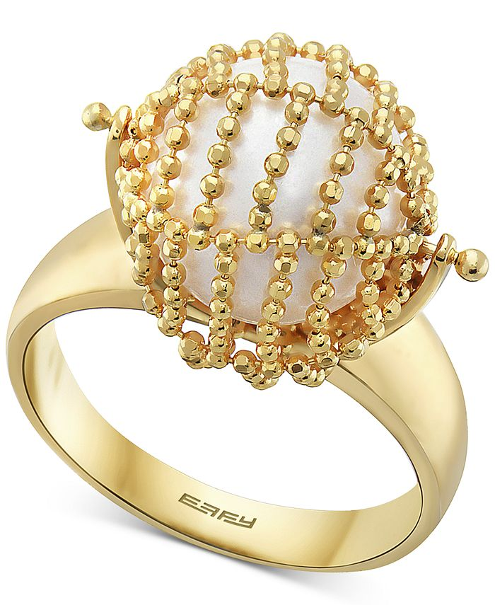 EFFY Collection - Cultured Freshwater Pearl (11-1/2mm) Statement Ring in 18k Gold-Plated Sterling Silver