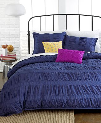 Closeout Ruched Stripes Navy 3 Piece Full Queen Comforter