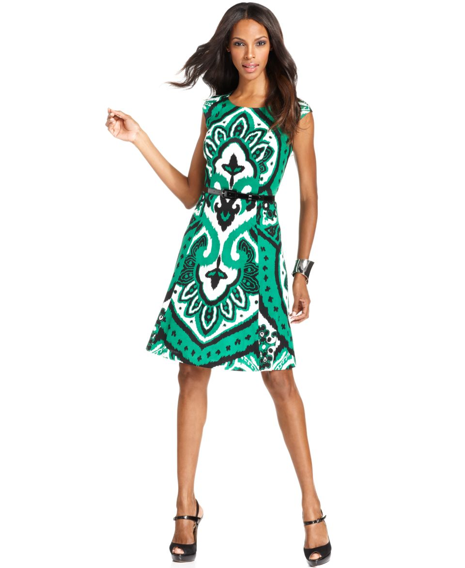 INC International Concepts Dress, Three Quarter Sleeve Printed Faux