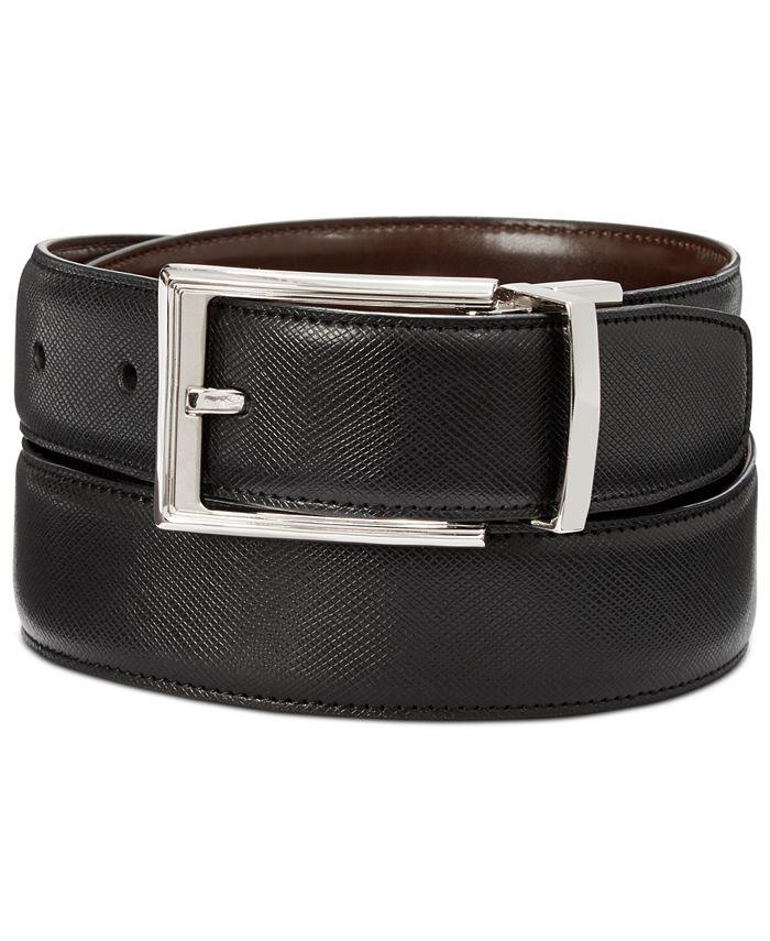 Perry Ellis Portfolio - Men's Saffiano Leather Reversible Belt