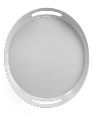 QSquared Serveware, Pearl Gray Melamine Small Oval Serving Tray