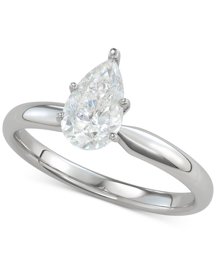 Macy's - Diamond Pear-Cut Solitaire Engagement Ring (1 ct. t.w.) in 14k White Gold