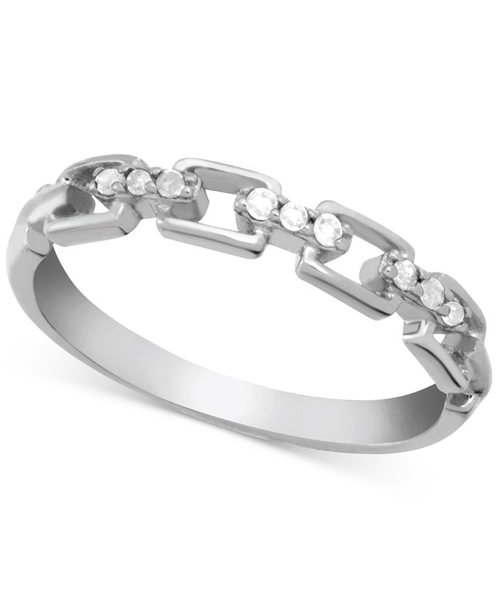 Macy's - Diamond (1/10 ct. t.w.) Link Band Ring in Sterling Silver
