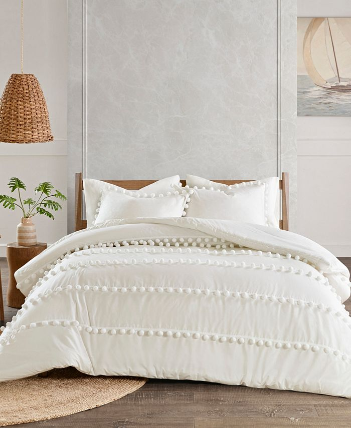 Madison Park - Leona 3-Pc. Pom Pom Cotton Comforter Set