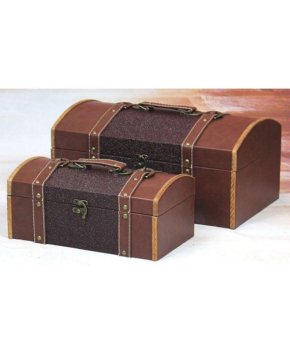 Vintiquewise Vintiquewise Set of Two Leather Designer Decorative Storage Trunks