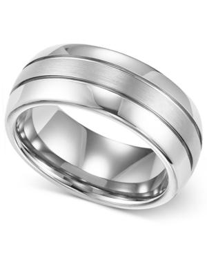 Triton Men's Ring, 8mm White Tungsten 3-Row Wedding Band