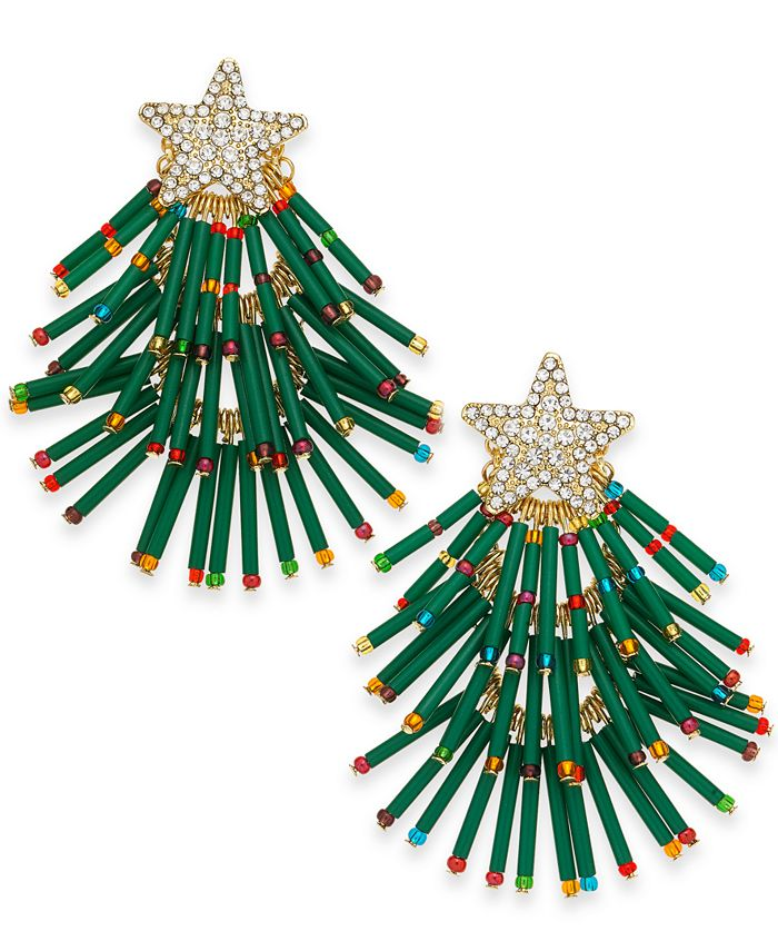 INC International Concepts - Gold-Tone Pavé & Multicolor Bead Holiday Tree Drop Earrings