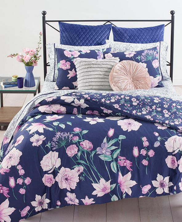 Martha Stewart Collection Midnight Floral Bedding Collection, Created for Macy's