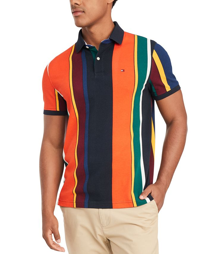 Tommy Hilfiger Men's Junior Stripe Big & Tall Polo Shirt, Created ...