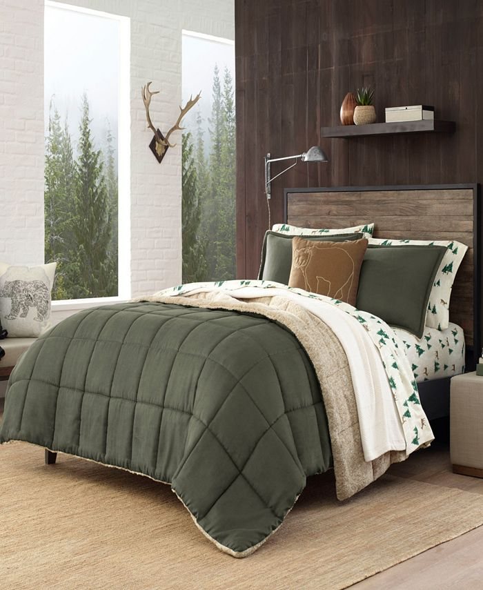 Eddie Bauer - Sherwood Dark Green Comforter Set, Full/Queen