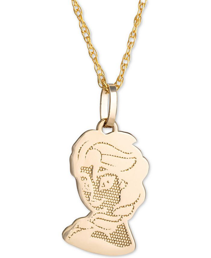 "Disney - Children's Frozen Elsa 15"" Pendant Necklace in 14k Gold"