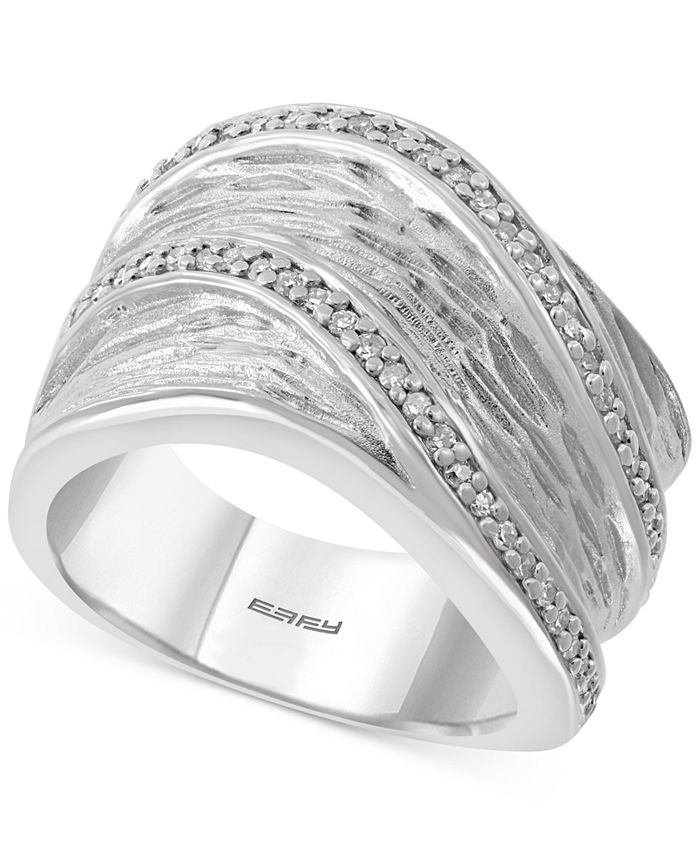 EFFY Collection - Diamond Textured Wide Statement Ring (1/4 ct. t.w.) in Sterling Silver