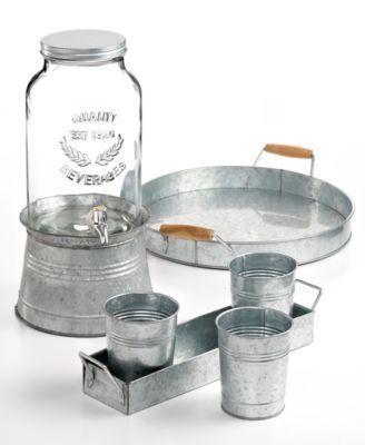 Masonware Galvanized Metal 4-Piece Picnic Caddy Set