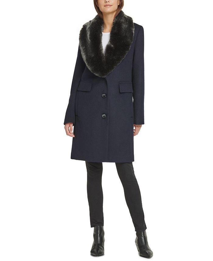 DKNY - Single-Breasted Faux-Fur Shawl Collar Coat